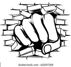 A pop art cartoon fist hand punching a through a brick wall