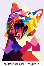 Pop art cat illustration. Creative animals art