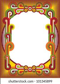 Pop Art Circles Frame with halftone dot border..