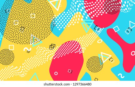 Pop art color background. Memphis pattern of geometric shapes for tissue and postcards. Vector Illustration. Hipster style 80s-90s. Abstract colorful funky background.