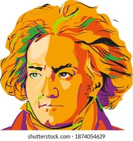 pop art colored portrait of Ludwig van Beethoven