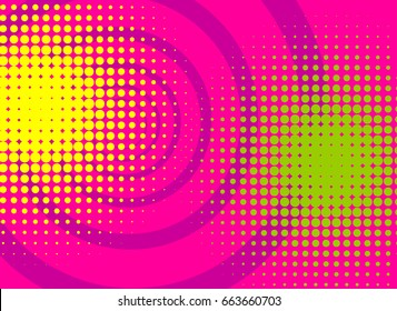 Pop art colored vector halftone background for cartoon bubble font. Comic book text bright color dot radial backdrop. Funny abstract template green, yellow, pink retro vintage strip.
