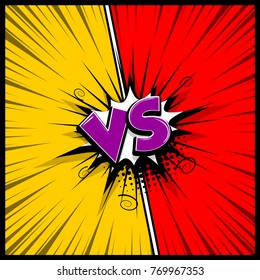 Pop art colorful backdrop mock up. Vector illustration halftone dot chat. Versus comic text. Comics book empty colored template background. Silhouette boom explosion. Speech bubble box balloon.