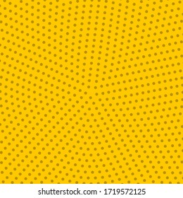 Pop art colorful comics book magazine cover. Polka dots yellow background. Cartoon funny retro pattern strip mock up. Vector halftone illustration. 90-s style. Template design for poster, card, flyer.