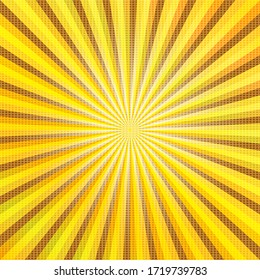 Pop art colorful comics book magazine cover. Striped yellow background. Cartoon funny retro pattern strip mock up. Vector halftone illustration. Sunburst, starburst shape. Digital background.