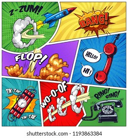 Pop art colorful concept with phone dynamite rocket