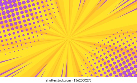 Pop art colorful dotted and rays backgrounds. Comics page, advertisement frame, web design, poster.