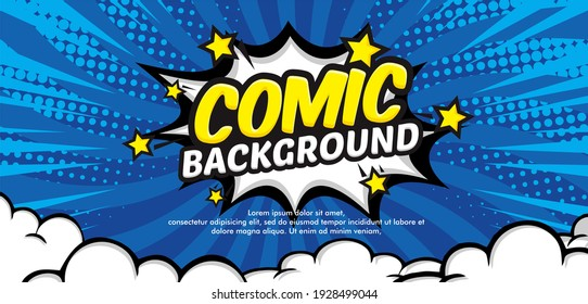 Pop art comic background with cloud and star. Cartoon Vector Illustration on blue