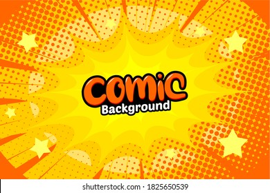 Pop art comic background with dot halftone and star. Cartoon Vector Illustration on Yellow
