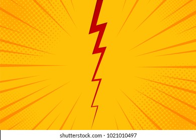 Pop art comic background lightning blast halftone dots. Cartoon Vector Illustration on yellow.