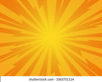 Pop art comic background lightning blast halftone dots. Cartoon Vector Illustration on orange