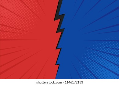 Pop art comic background lightning blast halftone dots. Cartoon Vector Illustration on red and blue.