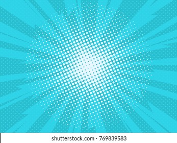 Pop art comic background lightning blast halftone dots. Cartoon Vector Illustration on blue