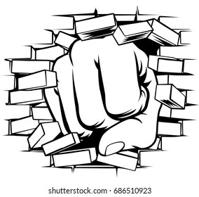 A pop art comic book cartoon fist punching a through a brick wall