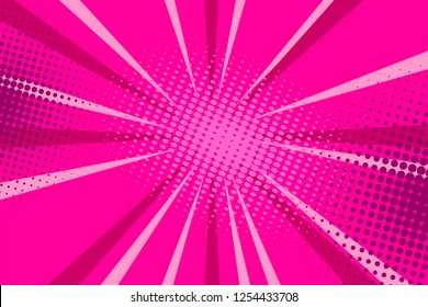 Pop art comic book strip cover design. Explosion, isolated retro style comics radial pink, background. Halftone colored background frame.