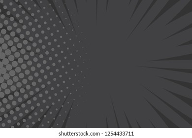 Pop art comic book strip cover design. Explosion, isolated retro style comics radial black background. Halftone colored background frame.