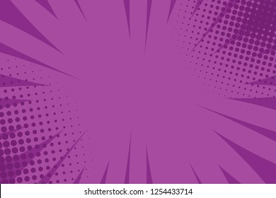 Pop art comic book strip cover design. Explosion, isolated retro style comics radial lilac, purple background. Halftone colored background frame.