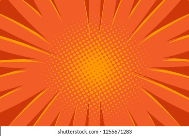 Pop art comic book strip cover design. Explosion, isolated retro style comics radial orange background. Halftone colored background frame.