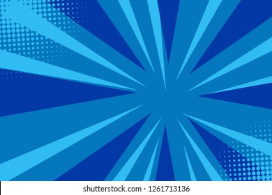 Pop art comic book strip cover design. Explosion, isolated retro style comics radial blue background. Halftone colored background frame.