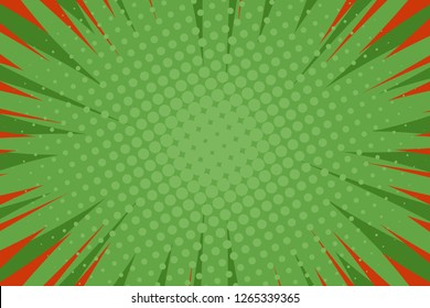 Pop art comic book strip cover design. Explosion, isolated retro style comics radial green background. Halftone colored background frame.