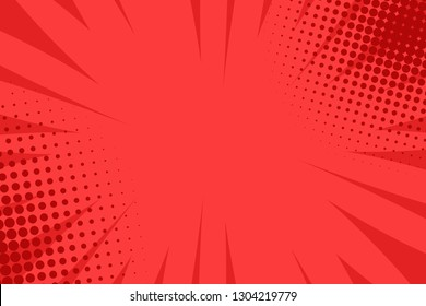 Pop art comic book strip cover design. Explosion, isolated retro style comics radial red background. Halftone colored background frame.