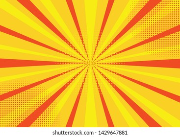 Pop art comic book strip cover design. Explosion, isolated retro style comics radial yellow background. Halftone colored background frame.