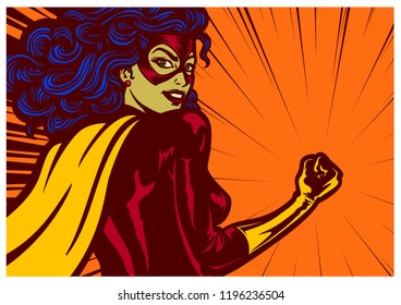 Pop art comic book style superheroine woman with clenched fist female superhero vector illustration