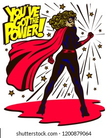 Pop art comic book style determined and powerful female superheroine standing tall with clenched fist female superhero vector illustration