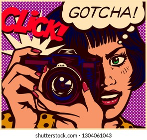 Pop art comic book style paparazzi female journalist reporter or photographer girl taking picture scoop with vintage analog photo camera vector illustration