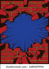 Pop art comic book style hole in brick wall torn down exploding, explosion cartoon vector illustration