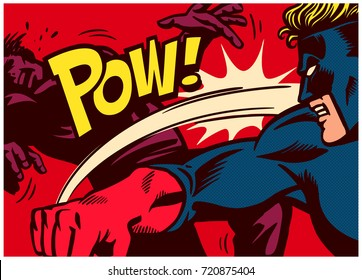 Pop art comic book style panel with superhero fighting, throwing punch and beating super villain vector poster wall decoration illustration
