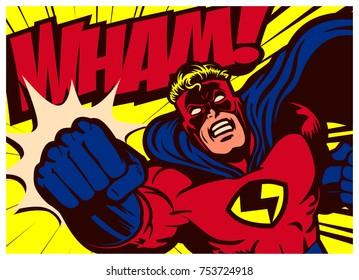 Pop art comic book style superhero punching vector poster design wall decoration illustration