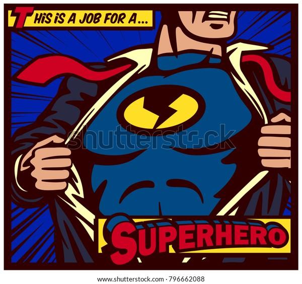 Поп-арт комикс стиль панели супергероя разрывая рубашку и носить костюм вектор плакат иллюстрации