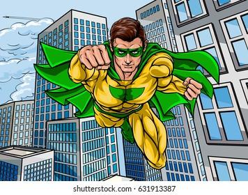 Pop art comic book super hero scene with a city skyscraper background