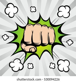 Pop art comic bubbles design. Vector illustration. Vintage Pop Art Punching Fist.