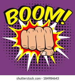 Pop art comic poster with boom clenched hand fist power human hit vector illustration