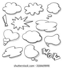 Pop art Comic Speech bubbles Set, Sketchy graphic word balloons isolated on white background - vector illustration.