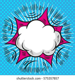 Pop art comic speech cloud vector background