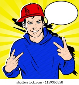 Pop Art comic vector Roy Lichtenstein Illustration of young male half body dressed in urban hip-hop gangsta rapper style,  gesturing with hands peace sign.