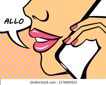 Pop art comic woman saying hello on the phone with speech bubble. Vintage pinup girl with pink lips. Flat vector illustration