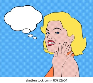Pop art comic woman with speech bubble