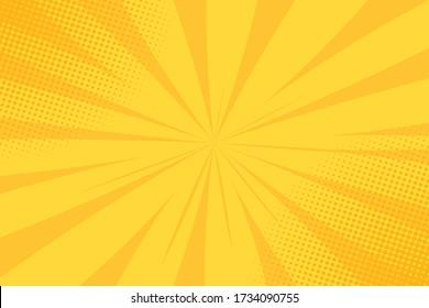 Pop art comic yellow background. Summer backdrop. Vintage vector halftone illustration.