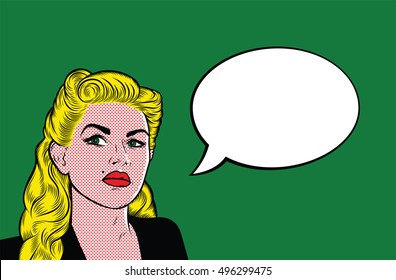 Pop Art Comics Background. Sad Woman with Speech Bubble, Green eyes, Blonde Hair. Retro Beautiful Girl Style 1960's. Green Background. Roy Lichtenstein style. Vector Illustration.