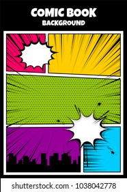 Pop art comics book magazine cover template. Cartoon funny vintage strip comic superhero, text speech bubble balloon, box message, burst bomb. Vector colored halftone illustration. Blank humor graphic