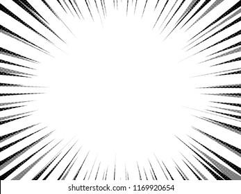 Pop art comics book style radial speed line. Abstract. Action background monochrome sunburst. Vector vintage illustration. Wow concept comic burst for text, anime, manga design template. EPS 10