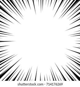 Pop art comics book style radial speed line. Action background monochrome sunburst. Vector vintage illustration halftone effect. Wow concept comic burst for text, anime, manga design template.