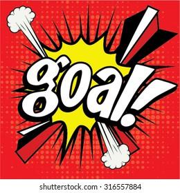 "Pop Art comics icon ""Goal!"". Speech Bubble Vector illustration."