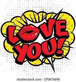 "Pop Art comics icon ""Love You!"". Speech Bubble Vector illustration."