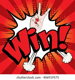 "Pop Art comics icon ""Win!"". Speech Bubble Vector illustration."