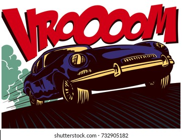 Pop art comics style fast car driving at full speed with vrooom onomatopoeia vector illustration wall decoration poster design